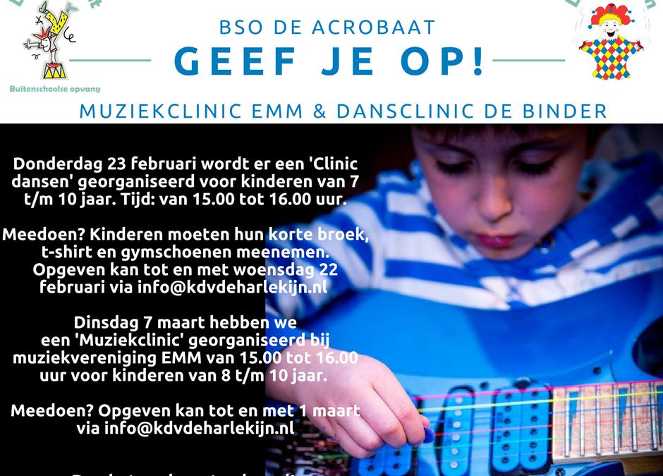 Geef je op voor dans- en muziekclinics!
